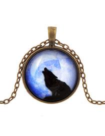 Retro Blue Round Shape Pendant Wolf Pattern Design