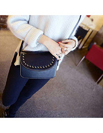 Retro Black Rivet Decorated Pure Color Design  Pu Messenger bags