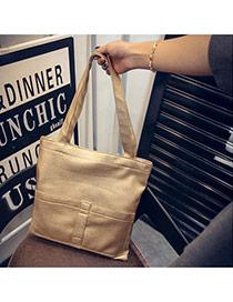 Personality Gold Color Pocket Decorated Bucket Shape Design  Pu Handbags