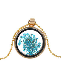 Elegant Blue Flower Pattern Decorated Round Shape Perfume Bottle Pendante Design Alloy Chains