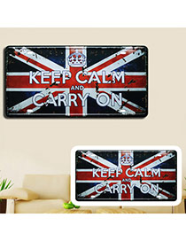 Nostalgic Navu Blue+red Flag Pattern Decorated Metal Painting Iron Household goods