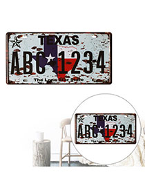 Nostalgic Gray Letter Texas Abc1234 Decorated Metal Painting