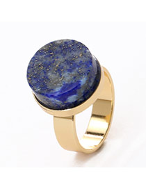 Personality Blue Round Shape Gemstone Decorated Simple Design Alloy