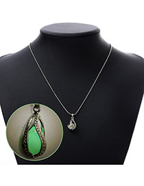 Personality Green Rotate Round Pendant Decorated Noctilcent Design Alloy Chains
