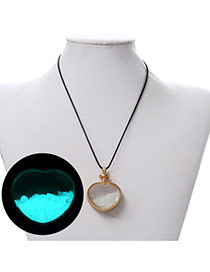 Personality Light Blue Heart Shape Pendant Decorated Noctilcent Design Alloy Korean Necklaces