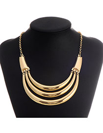 Retro Gold Color Crescent Shape Decorated Multilayer Design