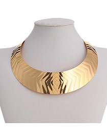 Exaggerate Gold Color Triangle Pattern Decorated Simple Design Alloy Bib Necklaces