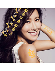 Personality Gold Color+silver Color Feather Pattern Flash Sheet Temporary Hair Sticker  Paper Tattoos body Art