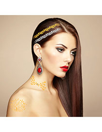 Personality Gold Color+silver Color Tree Patter Flash Sheet Temporary Hair Sticker