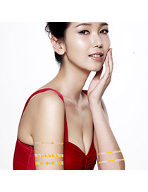 Personality Gold+silver Color Geometric Shape Pattern Waterproof Temporary Design Paper Tattoos body Art