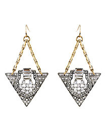 Exquisite Silver Color Diamond Decorated Triangle Pendant Design Alloy