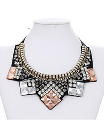 Elegant Multicolor Square Shape Decorated Fake Collar Design Acrylic Bib Necklaces