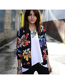 Fashion Black Flower Printed Decorated Long Sleeve Design  Terylene Coat-Jacket