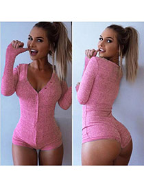 Sexy Pink Deep V Neck Long Sleeve One-piece Design  Cotton Others