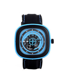 Casual Blue Second Disc Decorated Square Shape Design Platic Men's Watches
