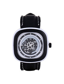 Casual White Second Disc Decorated Square Shape Design  Platic Men's Watches