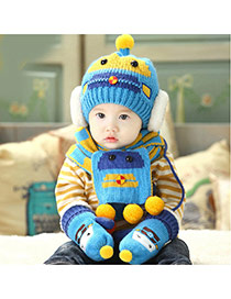 Lovely Blue Ball Decorated Robot Pattern Design With Scarf