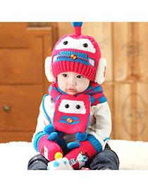 Lovely Plum Red Ball Decorated Robot Pattern Design With Scarf