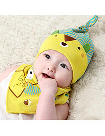Lovely Yellow Stripe Pattern Decorated Cartoon Bear Design With Scarf Cotton Children's Hats