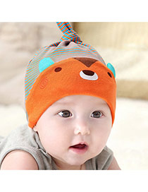 Lovely Orange Stripe Pattern Decorated Cartoon Bear Design With Scarf Cotton Children's Hats
