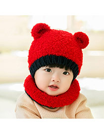 Lovely Red Ears Decorated Color Matching Design With Scarf Wool Children's Hats