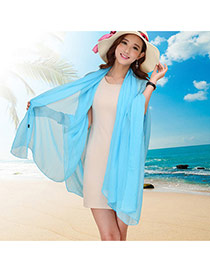 Simplicity Sky Blue Pure Color Decorated Simple Design Chiffon Thin Scaves