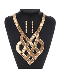 Exaggerate Gold Color Snake Bones Decorated Geometrical Shape Design  Alloy Jewelry Sets