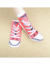 Retro Red Shoes Pattern Decorated 3d Effect Design  Spandex Fashion Socks