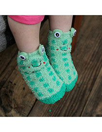Lovely Green Cartoon Frog Pattern Decorated Simple Design For Kids  Coral Velvet Fashion Socks