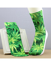 Retro Green Leaf Pattern Decorated 3d Effect Design  Spandex Fashion Socks