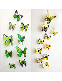 Creative Yellow 3d Butterfly Pattern Simple Design Wall Sticker(12pcs) Pvc Household goods