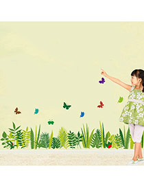 Creative Green Butterfly Grass Pattern Decorated Simple Design Wall Sticker  Pvc Household goods