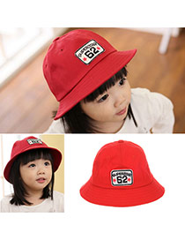 Cute Red Letter Embroideried Decorated Bucket Shape Design  Canvas Children's Hats