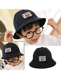 Cute Black Letter Embroideried Decorated Bucket Shape Design  Canvas Children's Hats