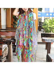 Retro Gray Flower Pattern Decorated Simple Design  Cotton Thin Scaves