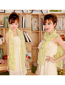 Retro Beige Flower Pattern Decorated Simple Design  Cotton Thin Scaves