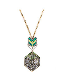 Retro Green Diamond Decorated Geometrical Shape Pendant Design Alloy Bib Necklaces