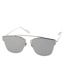 Simplicity Silver Color Irregular Geometrical Frame Decorated Thin Leg Design  Alloy Women Sunglasses