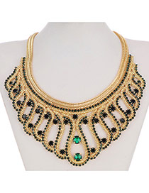 Retro Green Snakelike Chain Weave Decorated Collar Design