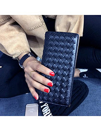 Fashion Black Pure Color Weave Design  Pu Wallet
