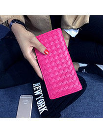 Fashion Plum Red Pure Color Weave Design  Pu Wallet