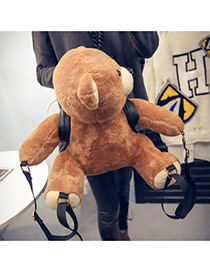 Personality Brown+black Cartoon Bear Decorated Simple Design Pu Backpack