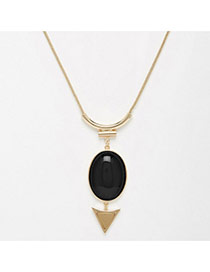 Personality Black Triangle & Oval Diamond Pendant Decorated Simple Design