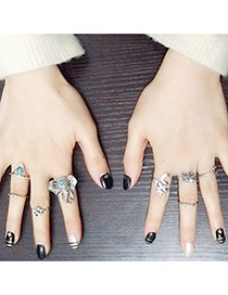 Personality Silver Color Elephant Head Decorated Simple Design(8pcs) Alloy Korean Rings