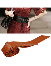 Fashion Dark Brown Pure Color Swallow Tail Shape Design  Leather Wide belts