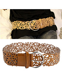 Retro Brown Pure Color Hollow Out Flower Design  Alloy Wide belts