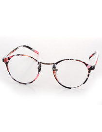 Pretty Plum Red Oval Shape Frame Decorated Thin Leg Design Plastic Fashon Glasses