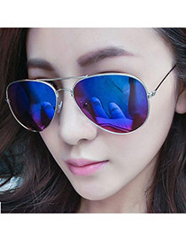 Fashion Blue Panda Eyes Shape Frame Decorated Simple Design Alloy