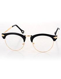 Fashion Black Half Frame Decorated Arrow Leg Design Alloy Fashon Glasses