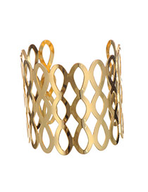 Trending Gold Color Water Drop Pattern Hollow Out Opening Design Alloy Fashion Bangles